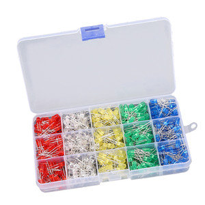 500pcs 5mm LED Diodes lumières tête ronde Light Emitting Diode Lampe ampoule Assortiment Kit - Blanc / Jaune / Rouge / Bleu / Vert