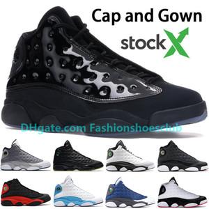 Nouveau Jumpman Cap and Gown 13 13s Chaussures de basket US 7-13 STOCKX Chicago Bred Atmosphere Gris Flint Phantom Hyper Royal hommes formateurs