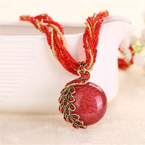 17 цвет сплава ювелирных изделий ретро кулон ретро этнический стиль ожерелье богемной ювелирных павлиньих аксессуаров бесплатную доставку
