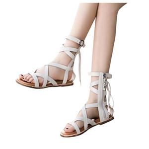 Women Sandals Summer 2020 Female Shoes Woman Belt Buckle Flat Heel Roman Sandals Lace-Up Comfortable Ladies High-Top Shoes