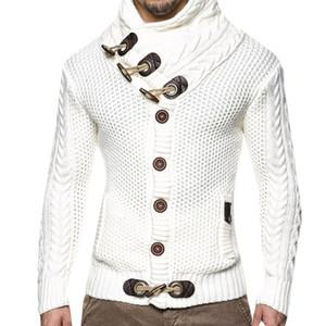 pulls d'automne de printemps les hommes de grande taille unique bouton et tortue chandail bouton corne cou cardigans brun blanc gris noir Pull d'homme