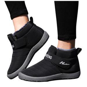 Men Snow Boots Winter Warm Plush Shoes 2020 Casual Ankle Short Bootie Waterproof Footwear Warm Shoes Hoop & Loop Design Boots