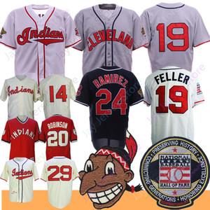 Jersey Vintage Larry Doby Bob Feller Frank Robinson Manny Ramirez Satchel Paige Basebol Salão de Fama Patch
