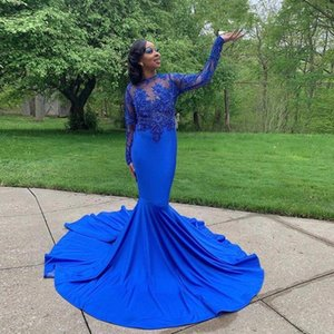 Royal Blue Prom Dresses Long 2021 Mermaid Evening Jewel Hollow Back Long Sleeve Sweep Train Appliques Beads Customized