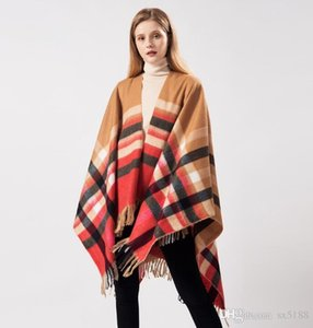 Scarf 2019 New Ladies Scarf Lattice fringed Thermal Shawl Cloak Dual Use free shipping 080203