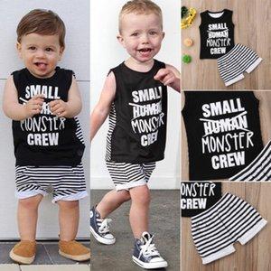 2018 새로운 여름 아기 소년 캐주얼 의류 세트 어린이 보이 블랙 편지 조끼 + 스트라이프 반바지 키즈 베이비 코튼 의상 0-24M 탑