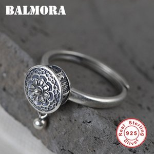 Balmora 100% real de prata esterlina 925 budistas de oração Mulheres Lady Rotating Anel Mantra tibetana Anel Good Luck presente