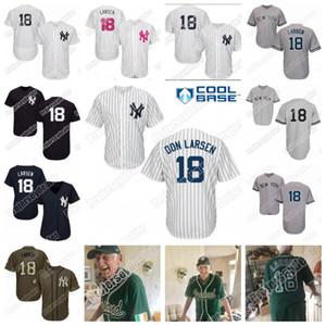 Individuelle 18 Don Larsen Jersey der Frauen der Männer Jugend Don Larsen Baseball Jersey Doppel genäht Name und Nummer Kostenloser Versand