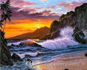 Free Shipping,Hand-painted & HD Print sea sunset Seascape Art oil painting On Canvas Home Decor Wall Art High Qality Multi Size l226