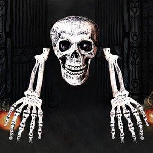 Ossos de esqueleto reutilizável DIY Lifelike Bar assustador Estaca Festa Halloween Skulls terra natal decoração do ornamento do cemitério Prop Lawn
