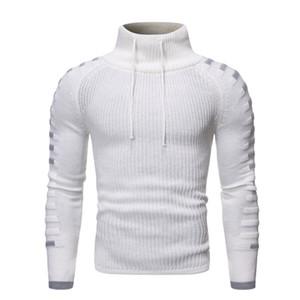 Winter Mens Designer Strickpullis Fashion Rollkragen Panelled dünne Kleidung beiläufige lange Ärmel Herrenkleidung