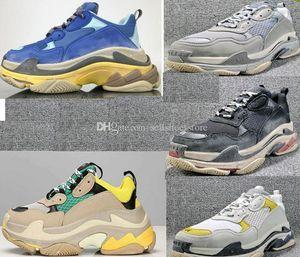 París clásico Triple-S zapatos de la zapatilla de deporte Triple S Zapatos papá lujo ocasionales para Hombres Mujeres con Beige Negro Deportes Tenis tamaño de los zapatos 36-45