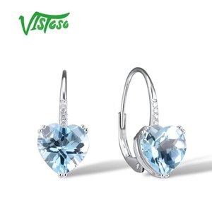VISTOSO Gold Earrings For Women 14K 585 White Gold Sparkling Sparkling Luxury Diamond Blue Topaz Wedding Engagement Fine Jewelry CX200706