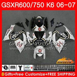 SUZUKI GSX R600 Için Vücut GSX-R750 GSXR-600 Şanslı beyaz SıCAK GSXR600 06-07