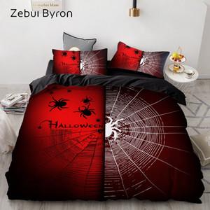 3D Baskı Nevresim Seti Özel / Kral / Avrupa / ABD, Yatak Seti Kraliçe / Kral, Yorgan / Battaniye Örtüsü Halloween Spider ve Web
