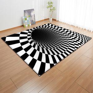 Sala Grande Tapete preto e branco ilusão visual tridimensional Vortex Caixa impermeável anti-derrapante Moda elegante e durável