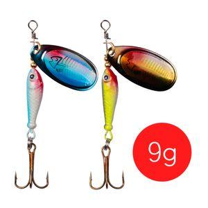 LUSHAZER Fishing spinner bait 9g spoon lure metal baits treble hook isca artificial fish wobbler feeder carp spinnerbait