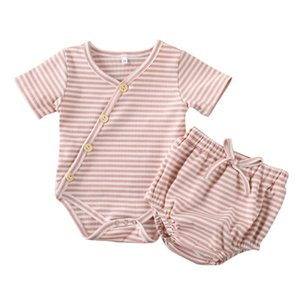 Pudcoco Baby Summer Clothing 2PCS Infant Baby Girls Boys Striped Tops Short Sleeve Bodysuit+Shorts Outfits Clothes 0-24M