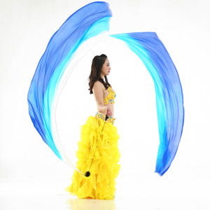 2 Pieces Belly Dance Silk Veil Poi Throw Balls Dancing Accessories 78.7 x 27.5in
