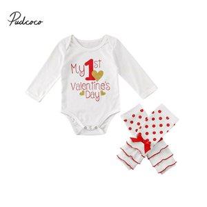 Pudcoco Bodysuit Новорожденный Baby Girl День святого Валентина Комбинезон + Гетры + Галстуки 3шт Комплекты одежды Set