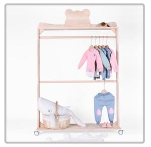Urso e coroar piso duplo pólo de madeira sólida loja de roupas exibição rack de decoração prateleira quarto das crianças cabide rolo das crianças