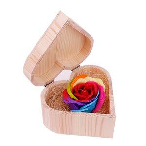 Валентина Мыло Цветок с формой сердцем деревянного ящика Букет Hand Made розы Мыло для Дня Святого Валентина Свадебных Подарки любителя 100шт GGA3061