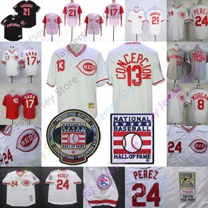 Vintage Jersey Joe Morgan Dave Concepcion Chris Sabo Deion Sanders Tony Perez Barry Larkin Bianco Grigio