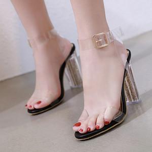 2020 estate donne trasparenti sandali degli alti talloni delle donne pompe a cristallo sandali delle signore Cancella Tacchi Casual Sandali Feminina