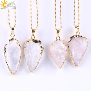 Collana Freccia del pendente della pietra all'ingrosso di cristallo naturale di guarigione di cristallo per le donne 2020 collana calda di vendita