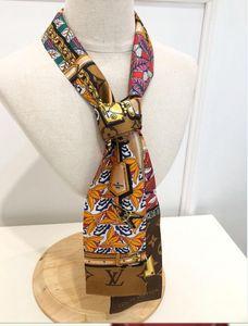 2020 Yeni Lüks ipek eşarp kadın dar çanta sapı ipek havlu çift yüz baskılı dimi şerit marka küçük kurdele 120 * 8 cm