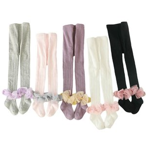2020 new spring autumn lace bows girls pantyhose cotton girls leggings princess girls tights baby pantyhose ballet pantyhose retail B696