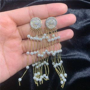 Fashion-Wedding Jewelry 18K Gold Plated Wedding Earrings For Women 2019 New Fashion Long Round Pearls Tassel Dangle Chadnelier