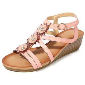 Slope Boemia Sandali donna con fibbia donne Roma sandali Fiori strass gladiatore sandalo estate Zapatos Mujer sh317