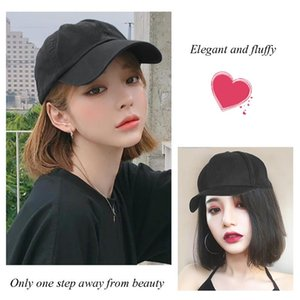 MIYOU High Temperature Resistant Fiber Synthetic Adjustable Baseball Cap Short Wig Fluffy No Trace Link Multicolor Optional Girl