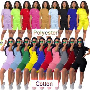 Verão Mulheres tracksuits roupas 2 duas peças roupas curtas set camisetas motociclista designer de movimentar-se roupas de algodão de poliéster das mulheres sportswear