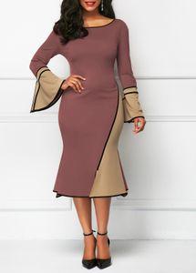 Frauen Frühling Panelled Bleistift-Kleider reizvolle Nixe-Aufflackern-Hülsen-Kleid für weibliche Mode-Dame-Partei-Kleider