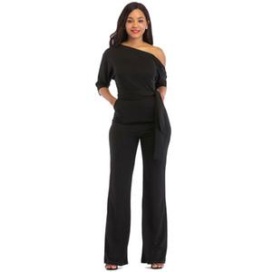 2019 Katı Renk Tulum Kadınlar Halter Yarım Kollu Straplez Omuz Streç Geniş Uzun Pantolon Rahat Tulum Tulum
