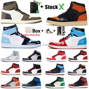 1 Haut Travis Scotts bas sans Peur Obsidian chaussures pour hommes de basket-ball Spiderman UNC Chicago Banned Bred Toe Men Sport DESIGNER Sneakers