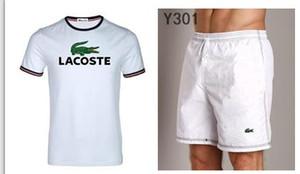 Sommer-Kurzschluss-Sets Männer beiläufige Klage-Sportanzug Stehkragen Männer Outwear SweatshirtsHoodies T-Shirt + Hosen