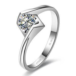 Ekonomik Moisanit Ring Gümüş Takı 0.6CT Moisssanite Sentetik elmas Yüzük Solitaire Mücevher Nişan yüzüğü