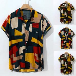 Los hombres del bloque del color Camisa para hombre hawaiano Impreso manga corta floja ocasional de los hombres camisa de botones Turn Down playa del verano de las camisas # 38