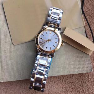 Мода 26MM Женские часы кварцевые часы женщин два тона браслет из нержавеющей стали белый циферблат золотой ободок и Handsr