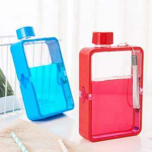 380ml Творческий Прозрачные бутылки спорта Square Простой портативный Anti-падения Фитнес бутылки Радуга Transparent Cup 5 Color XD23593