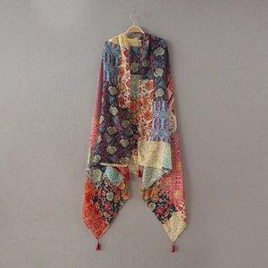 Damenmode Afrikanische ethnische Patchwork Blumen Quaste Viscose-Schal-Schal Winter-Muffler Stirnband Foulard Sjaal Wrap Hijab Snood T200407