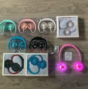 Asma Boyun Fan USB Şarj edilebilir Gerdanlık Lazy Boyun 3 yaprak 6 Kokulu Boyun Fan LJJK2230 Asma ile açık havada spor LED yapraklar