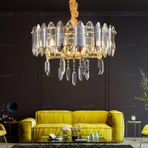 éclairage lustre en cristal de luxe pour le salon salle à manger ronde fixtures clair / gris fumée cristaux suspendus lampe LLFA