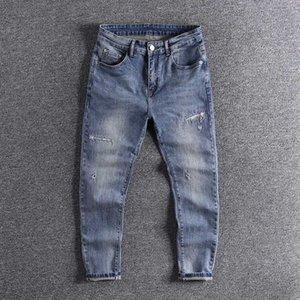 2020 new nine point jeans men's fashion brand summer slim Harun pants small feet hole cool designer fashion thin trouser 0263