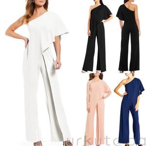 Modische Frauen kleidet eine Schulter Bodycon mit Rüschen festen Overall ärmel Polyester Damen Freizeit-Spielanzug ein Stück