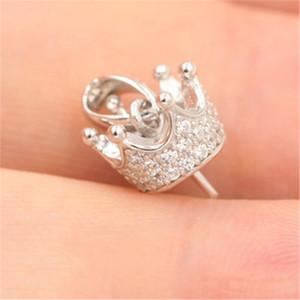 Kraliçe Taç Damla İnci kolye kolye Ayar Baz Katı 925 Gümüş wome DIY Takı Bulguları Aksesuar Mounts DZ014 Montaj
