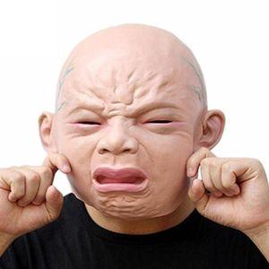 Realistische schreiendes Baby Maske voller Kopf Gesichtsmaske weint Perücken Halloween Barraum Spukhaus Grausigkeitschablone